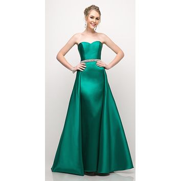 Strapless Mikado Gown Emerald Green Sheath Underskirt And Ballgown Overskirt