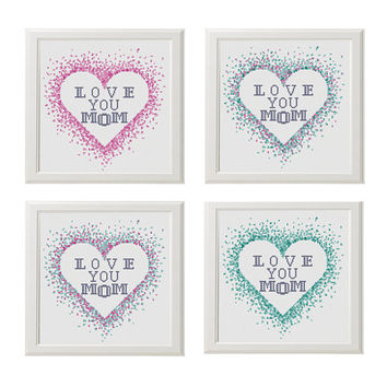 Mom Cross stitch pattern watercolor heart cross stitch Love cross stitch Counted cross stitch modern Love You MOM Colorful mother gifts