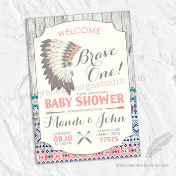 Brave One Tribal Baby Shower Invitations Pink