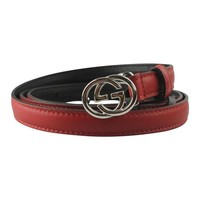Gucci Women's GG Red Skinny Leather Belt 370552 Size: 42