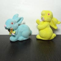 Vintage Plastic Yellow and Blue Flocked Fuzzy Bunny Figurines - Set of 2 - Easter/Spring Decor