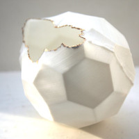 Honeycomb white vase made from stoneware Parian porcelain  with gold finish - hexagonal polyhedron - geometric decor