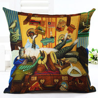 European Style Cute Book Cat Party Cushion Customized Throw Pillow Home Decorative Cotton Linen Square Printing Cojines