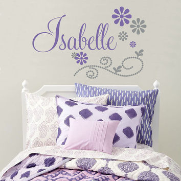 Girls Name Wall Decal With Flowers And Polka Dots Scroll For Baby Girl Nursery Or Teen Bedroom Personalized Vinyl Wall Art 22H x 36W GN058