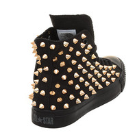 Studded Converse, Converse All Black High Top with Gold Cone Rivet by CUSTOMDUO on ETSY