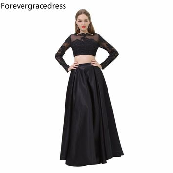 Forevergracedress Black Color Prom Dress Sexy Two Piece Long Sleeves Lace Evening Party Gown Plus Size Custom Made