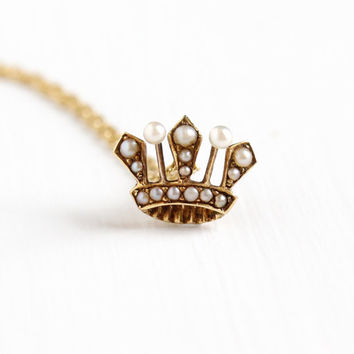 Antique 18k Yellow Gold Seed Pearl Crown Pendant Necklace - Vintage 1900 Edwardian Queen Royal Tiara Fine Stick Pin Conversion Charm Jewelry