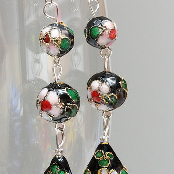 Long black cloisonne earrings