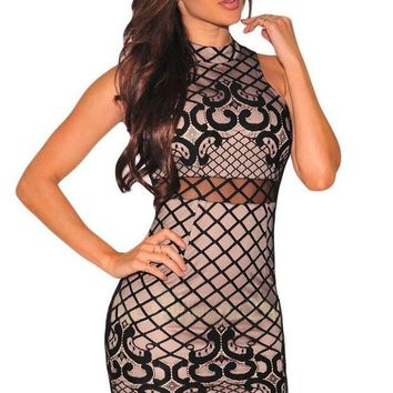 LMF78W Black Nude Illusion Dreamy Lace Up Back Dress