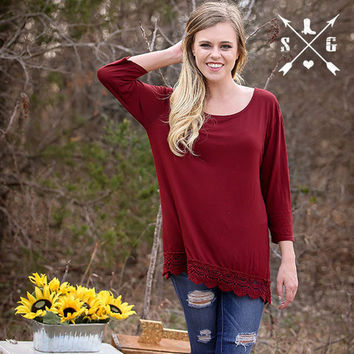 Maroon Solid 3/4 Sleeve Shirt with Crochet Lace