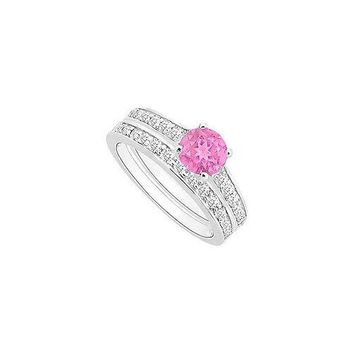 Pink Sapphire and Diamond Engagement Ring with Wedding Band Set : 14K White Gold - 1.00 CT TGW