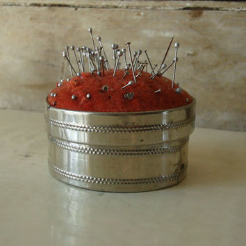 Vintage Metal Pin Cushion With Conpartment