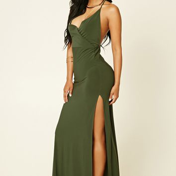 Surplice M-Slit Maxi Dress
