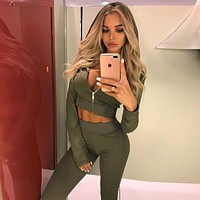 Women Casual Solid Color Long Sleeve Zip Cardigan Short Hooded Coat Trousers Set Two-Piece Yoga Sportswear