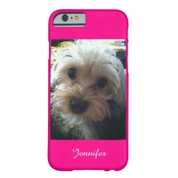 Pink or CHOOSE YOUR COLOR Adorable Yorkie, Custom Barely There iPhone 6 Case