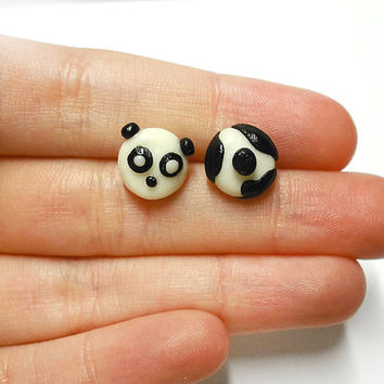 Panda stud earrings with tail hypoallergenic for sensitive ears handmade in cold porcelain, christmas gift idea