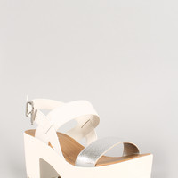 Soda Two Tone White Open Toe Lug Sole Platform Heel