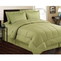 Sage Embossed 8 Piece Bed in a Bag, Comforter Sheet Set Bed Skirt Shams