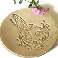 Hummingbird Ceramic Dish Sand Color Plate Bird Ring by Ceraminic