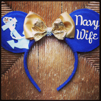 NAVY WIFE Custom made Minnie Ears