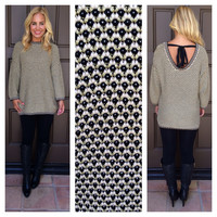 Knit Together Tie Back Sweater - GOLD