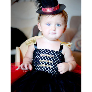 Adorable Circus Ringleader Ringmaster Costume Tutu Dress with Top Hat for Baby Girl 6-12 Months Old First Halloween Baby Halloween