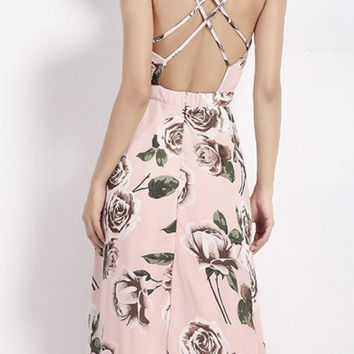 New Cross Back Wrap Front Floral Print Maxi Dress