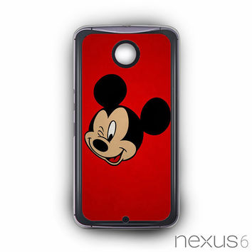 Mickey Mouse Red Background Wallpaper for Nexus 6 phonecases