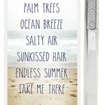 """Trendy Summer Beach Life iPhone 4s Case - Quote: """"Palm Trees, Ocean Breeze, Salty Air, Sunkissed Air, Endless Summer Take Me There"""""""