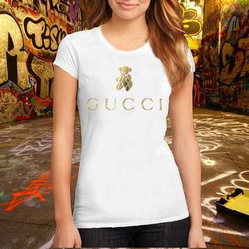 GUCCI Teddy Bear logo T Shirt Printed T Shirt, Women T Shirt, (Various Color Available