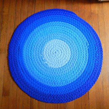 Ombré Blue Braided Rug - Upcycled Tshirt Rug - Kitchen Mat, Bathroom Mat, Bedside