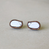 White Guinea Pig Stud Earrings