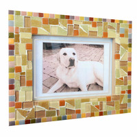 Glass mosaic picture frame, 5 x 7 photo frame, Earth Tones