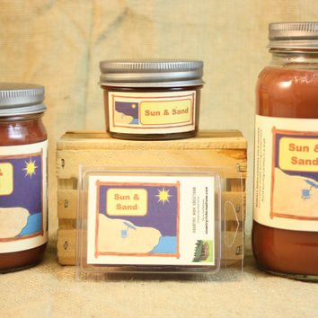 Sun and Sand Scented Candle, Sun and Sand Scented Wax Tarts, 26 oz, 12 oz, 4 oz Jar Candles or 3.5 Clam Shell Wax Melts