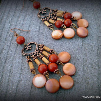 Burnt Orange Chandelier Earrings - Tangerine Mother of Pearl Shells, Wood and Red Glass Beads on Copper Heart Component - Boho Earrings