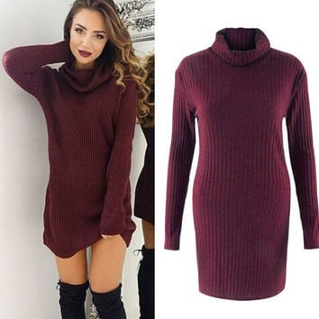 Sweater Long Sleeve Ladies Dress One Piece Dress [8341503937]