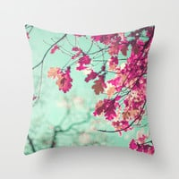 Purple leafs over mint Throw Pillow by AC Photography
