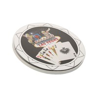 Welcome Sign Black Poker Chip Coaster