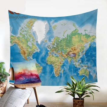 World Map Wall Decor Tapestry
