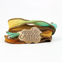 Good Vibes Silk Wrap Bracelet, Boho Chic, Inspirational, Rainbow,Hippie,  Recycled Jewelry