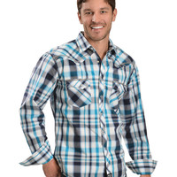 Wrangler Rock 47 Plaid with Whipstitching Designs Western Shirt - Sheplers