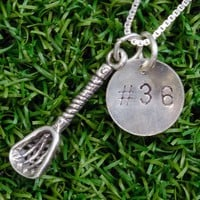Sterling Silver Hand Stamped Number Charm and Lacrosse Stick Charm Necklace | Sterling Silver Lacrosse Jewelry | Sterling Silver Lacrosse Hand Stamped Jewelry