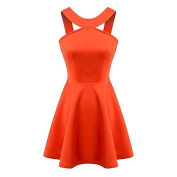 Summer Women's Fashion Slim Cotton Strapless Shaped Dress One Piece Dress [4917855812]