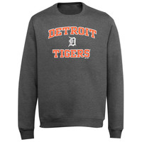 Majestic Detroit Tigers Heart and Soul Crew Neck Pullover Sweatshirt - Ash