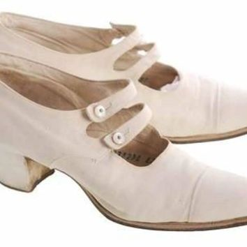Vintage Canvas Mary Jane Shoes Ladies 7-7.5 Heels Dble Straps 1920s