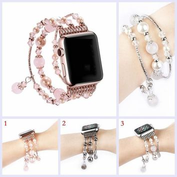Moomr® Fashion Handmade Watch Band Elastic Stretch Faux Pearl Natural Stone Bracelet Replacement IWatch Strap Gifts for Women Gi