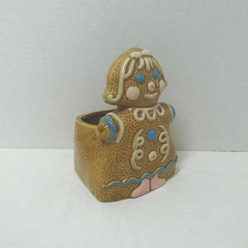 1950s Rubens Original Gingerbread Girl Planter, 4.5 Inch Base Diameter, 6.5 Inches Tall, Vintage Country Decor, Christmas Decor, Made Japan