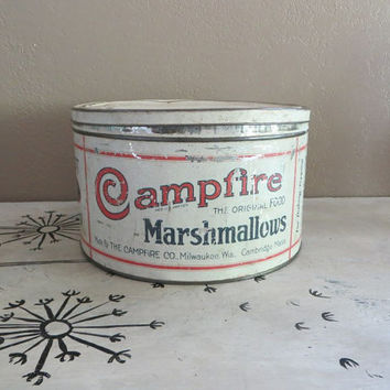 Campfire Marshmallow Tin Vintage Tin Kitchen Tin Storage Tin Shabby Chic Tin Rustic Kitchen Rustic Tin Four Tin Cookie Tin Metal Tin