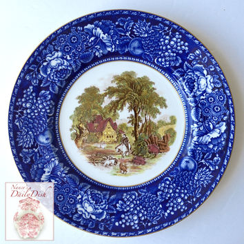 Blue & Brown Polychrome 2 Color Transferware Plate Rural Scenes - English Hunt - Royal Staffordshire - Hand Painted