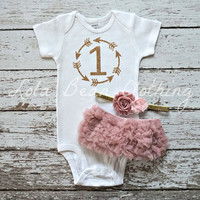 Baby Girl 1st Birthday Outfit Cake Smash Gold One Bodysuit Dusty Rose Bloomers Light Pink Headband Arrows Boho Tribal